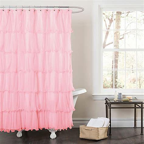 pink ruffle shower curtain buy nerina sheer ruffle shower curtain in pink from bed