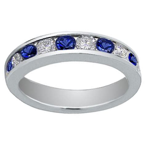 1 00 ct cut and blue sapphire wedding band ring
