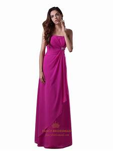 Hot Pink Strapless Chiffon Bridesmaid Dresses With Front ...