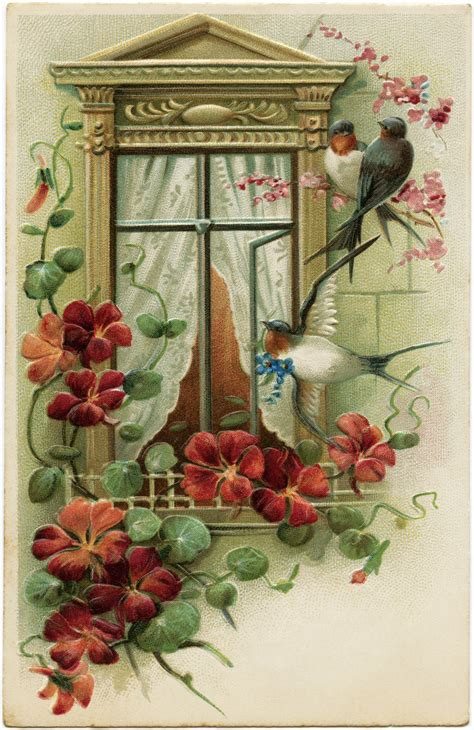 vintage traditional christmas card vintage postcard image old fashioned greeting card bird flower window graphic antique