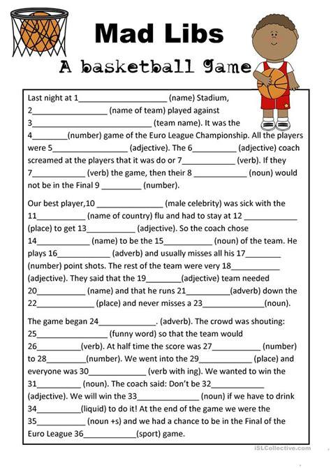 mad libs basketball worksheet free esl printable