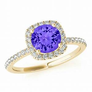 75mm tanzanite diamond cushion halo engagement ring 14k With tanzanite wedding rings