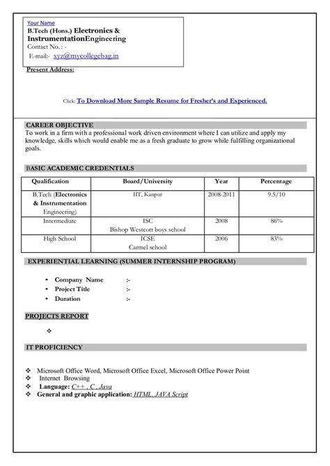new resume format it resume cover letter sle