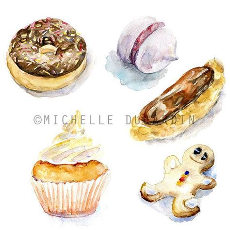Backery watercolor clipart   Pastry Watercolour Painting