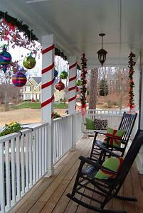 Ribbon, Wrapped, Around, Pillars, And, Ornaments, From, The, Ceiling