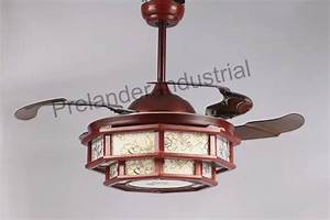 Chinese art ceiling fan hidden blades