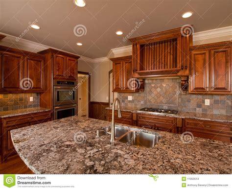 luxury home dark wood kitchen  countertop stock photo image  luxury expensive