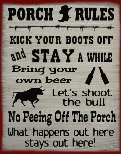 Western Porch Rules Rustic Primitive Country Wood Sign