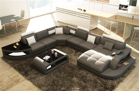 canap 233 d angle en cuir italien 8 places nordik table offerte gris fonc 233 et blanc mobilier priv 233