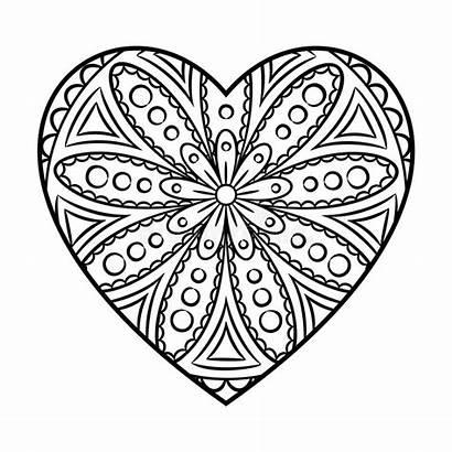 Mandala Heart Doodle Coloring Flower Outline Pattern