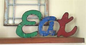 large rustic vintage metal eat sign kitchen wall art With vintage eat letters