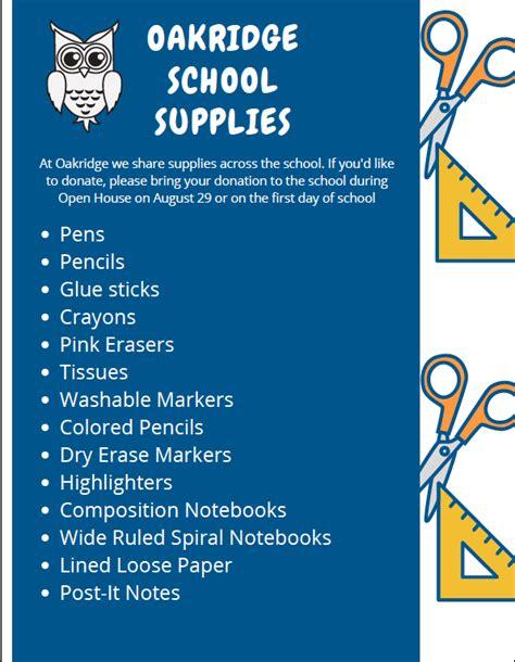 school supply list oakridge