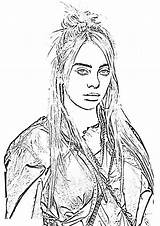 Billie Eilish Coloring Pages Drawing Hand Printable Print sketch template