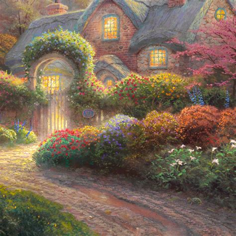 kinkade cottage paintings rosebud cottage limited edition kinkade studios