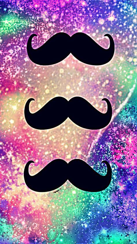 cute mustache glitter galaxy wallpaper  wallpaper