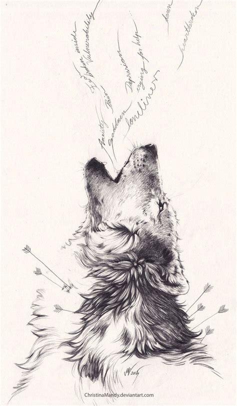 dessin tatouage loup fleches hurlement douleur encre