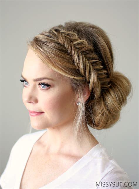 hair side bun styles fishtail braid updo 8388