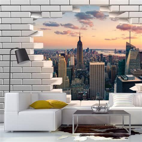 papier peint trompe l oeil mur de briques cass 233 avec vue
