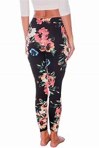 Black Floral Stretchy Leggings for Women