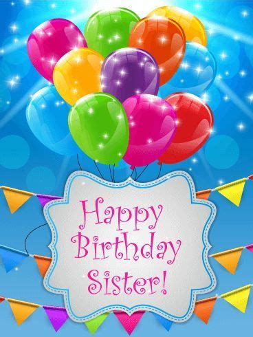 colorful balloons happy birthday card  sister