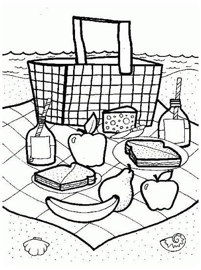 Picnic Coloring Crafts Basket Pages Preschool Theme
