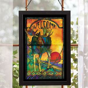 Moose stained glass wall art