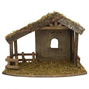 amazoncom fontanini wooden stable nativity village