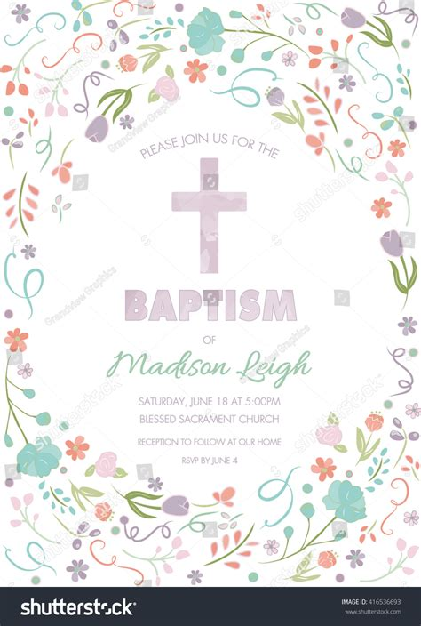 Baptism Christening First Communion Invite Template