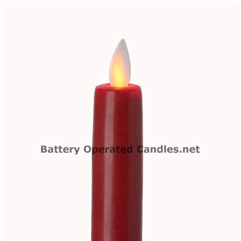 Halloween Battery Operated Taper Candles by 8 Inch Red Moving Flame Battery Operated Taper Candle