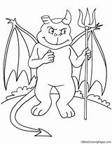 Devil Coloring Halloween Pages sketch template