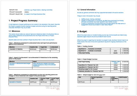 project progress report template word templates