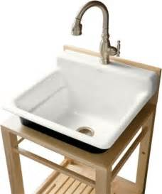 kohler k 6608 1p 0 bayview wood stand utility sink with single faucet drill traditional