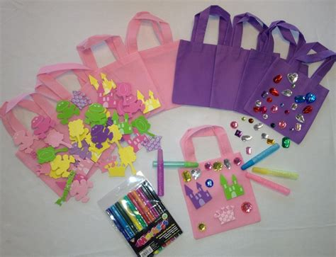 8 Pink And Purple Princess Party Favors Goodie Bags Craft
