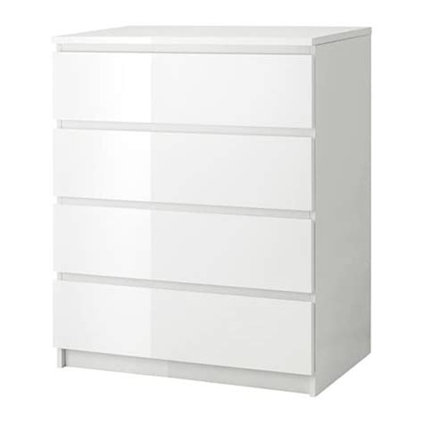Lade Moderne Per Comodini by Malm Ladekast Met 4 Lades Wit Hoogglans Ikea