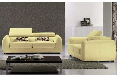 canape 3 places et 2 places ensemble canap 233 s 3 places et 2 places en cuir italien firenze 233 cru jaune pale mobilier priv 233