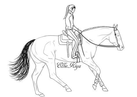Horse Lope Lineart With Rider By Elliekiya On Deviantart