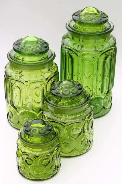 vintage moon green glass canister set flour sugar coffee tea canisters