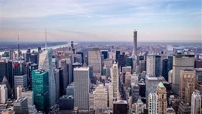 Metropolis Aerial 4k York Architecture Buildings Wallpapers