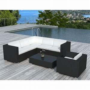 Salon De Jardin Angle : salon de jardin d 39 angle en r sine tress e noir blanca ~ Teatrodelosmanantiales.com Idées de Décoration