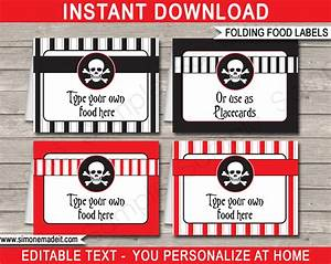 Printable Pirate Food Labels Place Cards Pirate Theme