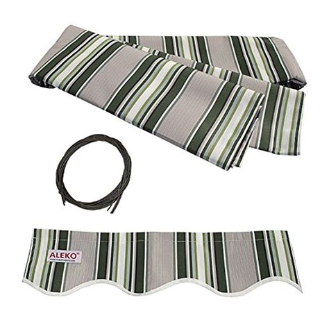 aleko  retractable awning fabric replacement multi striped green color walmartcom