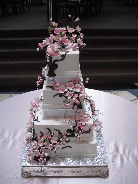 gumpaste sugar flowers cherry blossom cake  thee wed