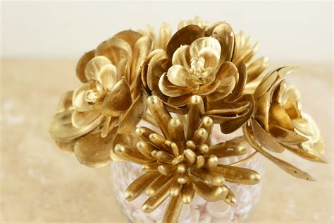 6 metallic gold succulents floral picks 6 5 quot