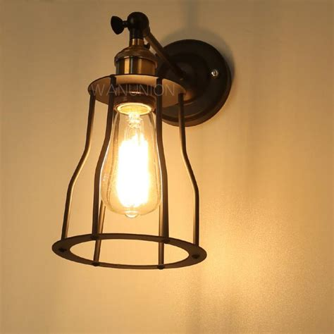 vintage industrial diy cage metal copper wall light sconce