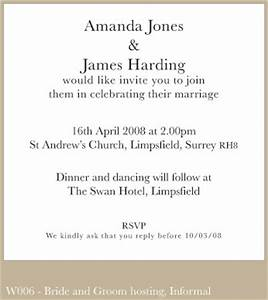 Wedding invitation wording from bride and groom for Formal wedding invitation wording from bride and groom
