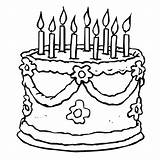 Coloring Birthday Pages Cake Cakes Printable sketch template