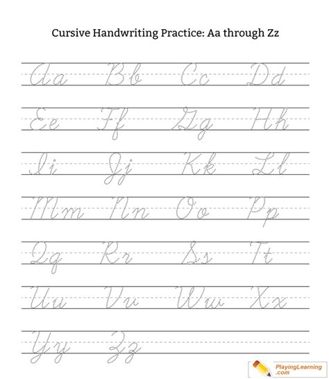 Related posts of cursive practice sheets printable. Cursive Handwriting Practice Letter A Through Z Uppercase Lowercase | Free Cursive Handwriting ...