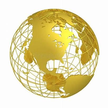 Globe Earth Golden Gold 3d Planet Grid