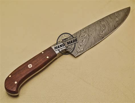 Damascus Kitchen Knife Custom Handmade Damascus Steel Chef