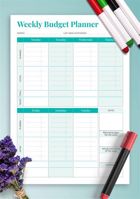 printable simple weekly budget template